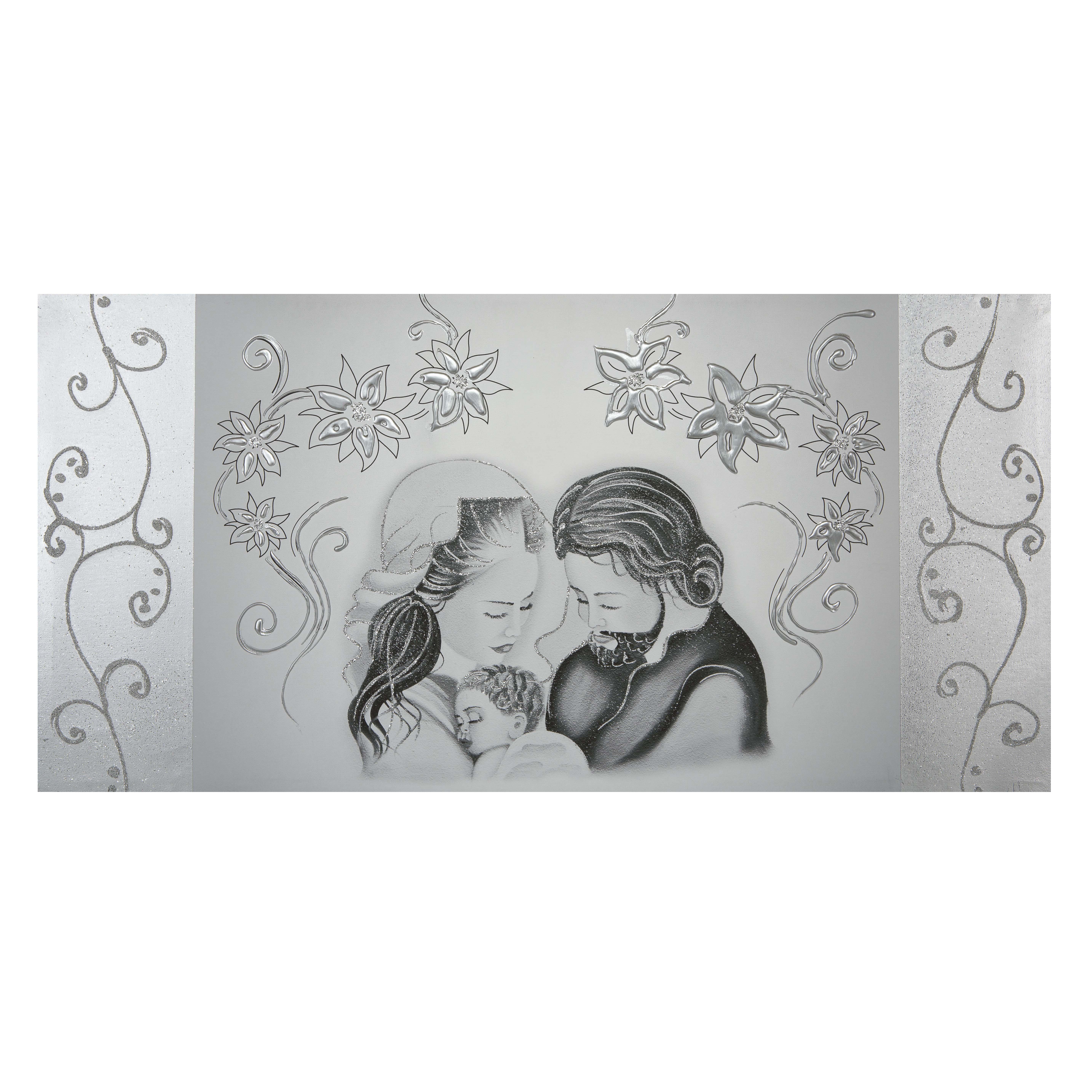 quadro capezzali Sacra Famiglia argento