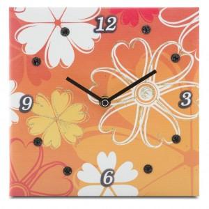 orologio fiori sfondo arancio