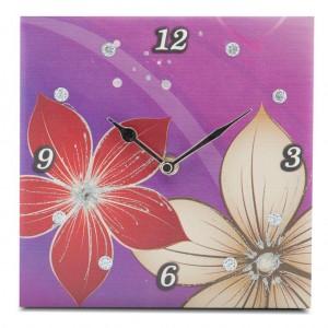 orologio fiori sfondo viola