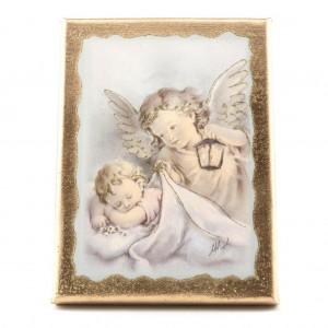 quadretto stondato angeli lanterna oro